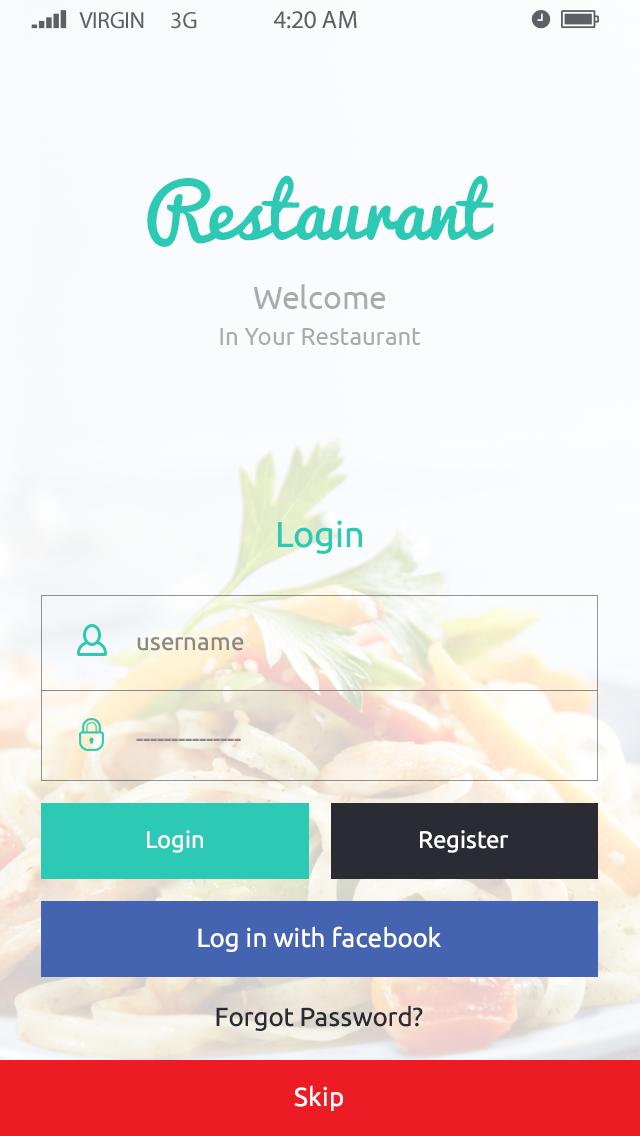 Restaurant-ionic app theme
