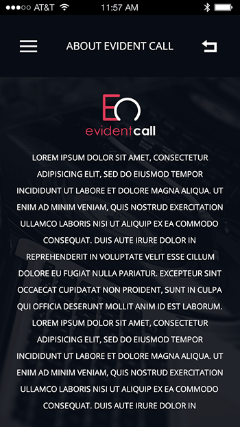 Evident Call-ionic app theme