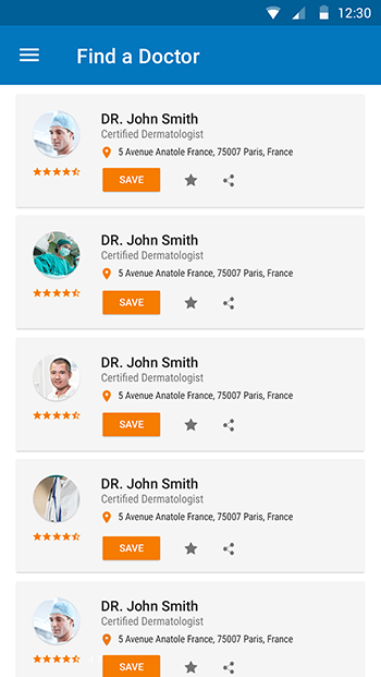 Find a Doctor-ionic app theme